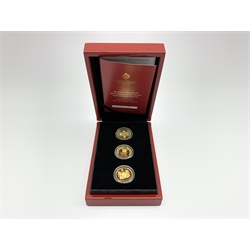 Three Queen Elizabeth II St. Helena gold coins 'The Queen Elizabeth II 2018 Sapphire Jubilee Guinea Collection Three coin Set', cased with certificate