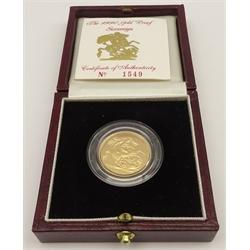 Queen Elizabeth II 1990 gold proof full sovereign, cased with certificate