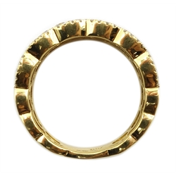 18ct gold diamond half eternity band stamped 750, total diamond weight 1.80 carat