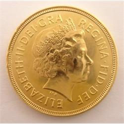 Queen Elizabeth II 2001 gold full sovereign
