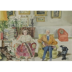 * Harry More Gordon (Scottish 1928-2015): Lord and Lady Harewood in the Sitting Room at Harewood, watercolour, signed and dated August 1989, Francis Kyle Gallery label verso 51cm x 73cm. This lot may be subject to Artists Resale Rights  Provenance: from the private family collection at Harewood House - <a href='https://www.dugglebystephenson.com/auctions/harewood-house.aspx'>Read more...</a>