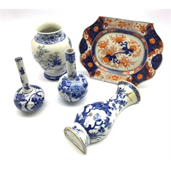 18th century Chinese blue and white vase form wall pocket (a/f), 18th/ 19th century Chinese Imari decorated rectangular dish and three Japanese blue and white vases (5)