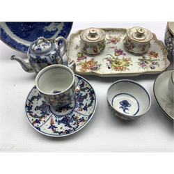 Continental inkstand painted with floral sprays, painted marks for Dresden and impressed Meissen, L24cm, Georgian bat printed tea bowl and saucer, 19th century Royal Lily pattern slop bowl, 19th century transfer printed Willow pattern dish and a Continental Childs tea set for one, possibly Tettau