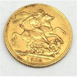 King George V 1912 gold full sovereign