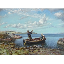 James Wallace (British 1872-1911): Young Boys in a Rowing Boat, oil on canvas signed and dated 1910, 50cm x 67cm