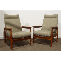 George Fejer and Eric Pamphilon for Guy Rogers - Pair of 'Manhattan' teak framed reclining armchair, loose cushions newly upholstered in dappled grey Russian linen, originally retailed by 'Heals of London', circa 1966, W70cm