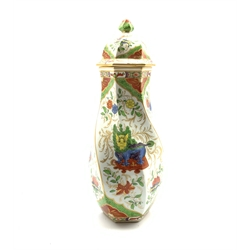 Chelsea style vase and cover of wrythen form painted and gilded with Chinoiserie design, gold anchor mark beneath, H32cm
