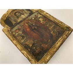 17th/18th century Russian Icon, wooden panel with tempera painted scene of the Virgin Mary and Christ max 23cm x 15cm