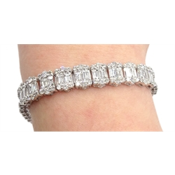 18ct white gold baguette and round brilliant cut diamond bracelet, stamped 750, total diamond weight 15.50 carat