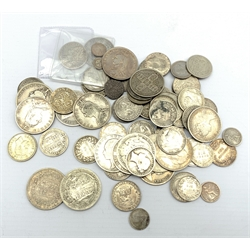 George II 1745 shilling, George III 1787 shilling, Queen Victoria godless florin 1849, various other Gothic florins, 1883 and 1878 halfcrowns, other pre 1920 silver coinage etc