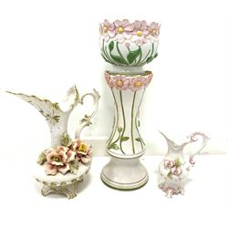 Group of Italian and similar pottery to include a jardiniere and stand, floral encrusted jug etc