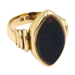 Victorian 18ct gold marquise cut bloodstone signet ring, Birmingham 1885