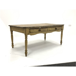 Victorian pine dining table, waxed scrub top over two frieze drawers to one side, raised on turned tapered supports, with traces of original paint, 88cm x 162cm, H70cm