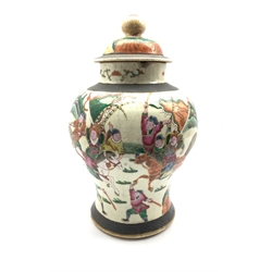 19th century Chinese crackle glazed vase and cover, of baluster form decorated with figures in battle, H40cm