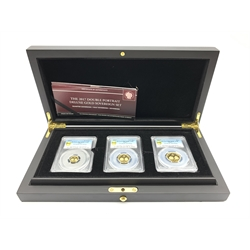 Queen Elizabeth II Tristan Da Cunha 'The 2017 Double Portrait Deluxe Gold Sovereign Set' full, half and quarter sovereigns, each coin encapsulated in a PCGS holder, cased with certificate