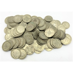 Quantity of pre 1947 florin and half crown silver coins, most being from the reign of King George V, total weight approximately 1600 grams