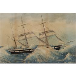 English School (19th century): HMS Warrior in Rough Seas - Ship's Portrait, watercolour unsigned 58cm x 39cm