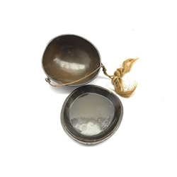 19th century Japanese coconut shell box and cover with lacquer finish, three brass ring fitting with attached cord, applied fan shaped mount and two later carved wooden ojime beads,  L13cm x H9cm