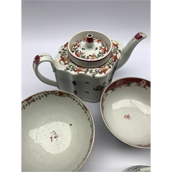 18th century Newhall teapot of lobed oval design decorated with floral sprays Patt. 748, Newhall creamer Patt 312, three Newhall slop bowls and a saucer dish D21cm