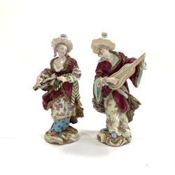Pair of 18th Century style Meissen figures 'Man and Woman from Malabar' after Friedrich Meyer H17cm with blue crossed swords mark  Provenance: Property of a Lady of Title
