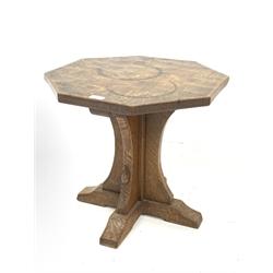 'Mouseman' oak octagonal side table, cruciform base on sledge feet, circa. 1950s, by Robert Thompson of Kilburn, D55cm, H47cm