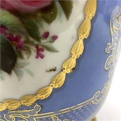 19th century French porcelain baluster vase painted with panels of flowers on a blue and gilt ground (cracked) with incised mark H46cm