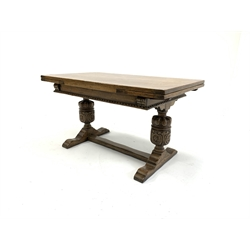 Titchmarsh and Goodwin refectory style oak extending dining table,  raised on baluster turned and lobe carved supports and sledge feet, 81cm x 137cm, H76cm