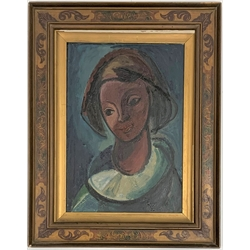 * Bartl - Head of a Girl, oil on aluminium panel 41cm x 28cm with label inscribed 'Exhibited at Cambridge 1948'  Provenance: from the private family collection at Harewood House - <a href='https://www.dugglebystephenson.com/auctions/harewood-house.aspx'>Read more...</a>