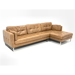 Dwell Furniture - corner sofa upholstered in buttoned tan brown leather on polished metal supports, W286cm, D158cm