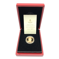 Queen Elizabeth II St. Helena 2019 gold five pound coin 'The 2019 five sovereign gold proof coin', one of a limited mintage of four-hundred coins, this coin number 12, cased with certificates