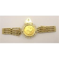 King Edward VII 1907 gold full sovereign, in bracelet mount, total weight 23.7 grams