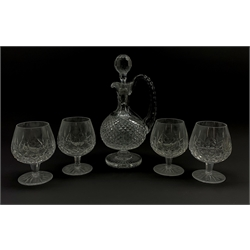 Waterford crystal claret decanter with certificate and four Waterford Crystal Lismore pattern brandy glasses (5)