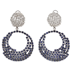 Pair of large 18ct white gold sapphire and diamond circular pendant earrings, stamped 750