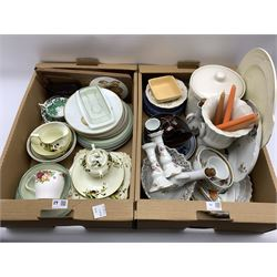 Quantity of ceramics including Worcester Evesham, Tuscan China part tea set, Continental dressing table tray and candlesticks etc in two boxes