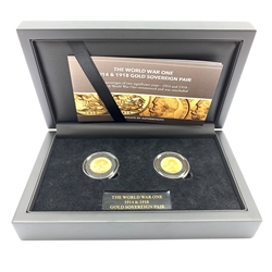 King George V 1914 and 1918 gold full sovereigns forming 'The World War One 1914 & 1918 gold sovereign pair' set, cased together with certificate