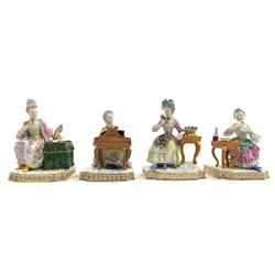 Set of four 19th Century Meissen figures from the Senses series, 'Sight, Smell, Taste and Sound' after the models by J C Schonheit, approx H13cm with blue crossed swords mark  Provenance: Property of a Lady of Title