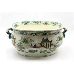 19th century Staffordshire foot bath of baluster form printed with Pagodas and fishing boats, L50cm (a/f)