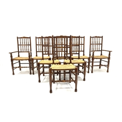 Set eight (6+2) stained beech and elm spindle back dining chairs, carved cresting rail, string seats, turned supports united by ring turned stretchers, W56cm