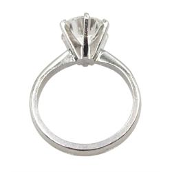 Platinum single stone solitaire round brilliant cut diamond ring, hallmarked, diamond approx 1.95 carat