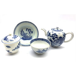 18th century and later Chinese porcelain including a teapot, shallow bowl and bowl together with a 19th century blue and white jar and cover (4)