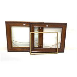 Pair of oak picture frames with gilt slips, aperture 45cm x 58cm