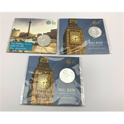 Two United Kingdom 2015 'Big Ben' one hundred pounds fine silver coins and a 2016 'Trafalgar Square' one hundred pounds fine silver coins, all on cards of issue