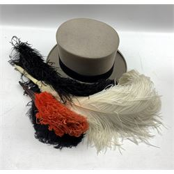 Various Ostrich feather fans and a Moss Bros grey top hat
