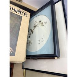 Modern Masterpieces magazines, Richmond curtains, boxed, various prints, watercolour,  Oriental framed flower display etc