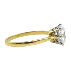 Gold single stone round brilliant cut diamond ring, stamped 18ct Plat, diamond approx 2.20 carat