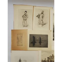 Collection of 19th/early 20th century etchings and engravings including 'Edinburgh Castlegate', 'St Paul's', 'Windsor Castle', 'Liverpool Exchange', etc, max 22cm x 30cm (13)