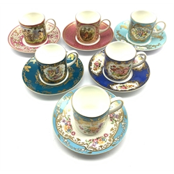 Set of six 'Coalport Celebration Collection' coffee cups & saucers each decorated with individual patterns