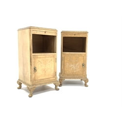 Pair of early 20th century Queen Anne style bleached walnut bedside tables, cross banded top above brushing slide and open shelf, cupboard under, raised on cabriole supports, W37cm