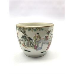 Chinese Republic porcelain cup decorated with figures in garden, red seal to base H7.5cm and a pair of 18th century Chinese famille verte hexagonal vases (a/f) (3)
