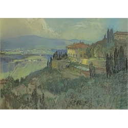 * Leonard Richmond (British 1889-1965): 'The Villa Medici, Florence' pastel, signed and with Fine Art Society label verso dated 1922 37cm x 50cm  Provenance: from the private family collection at Harewood House - <a href='https://www.dugglebystephenson.com/auctions/harewood-house.aspx'>Read more...</a>